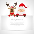 Santa claus and reindeer with a place for text greeting card Royalty Free Stock Photography