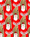 Santa claus and reindeer seamless background vector ornament fr from christmas animals festive pattern for christmas new year Stock Photos