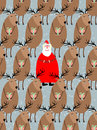 Santa claus with reindeer seamless pattern vector background of animals and grandfather beard ornament for holidays Royalty Free Stock Photography