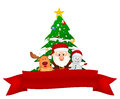 Santa claus reindeer and snowman with red ribbon illustration of Stock Photos