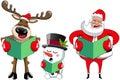 Santa Claus reindeer snowman singing christmas carol