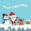 Friendship Santa claus reindeer and snowman on roof top