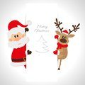 Santa claus and reindeer with space for text your Royalty Free Stock Photography