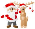 Santa claus and reindeer vector illustration of a on white background Stock Photo
