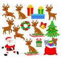 Santa Claus and renders. Funny Christmas set. Holiday cartoon illustration. Royalty Free Stock Photo