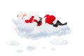 Santa claus resting while lying on cloud isolated white background Stock Images