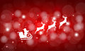 Santa Claus rides in a sleigh in harness on the reindeer Royalty Free Stock Photo