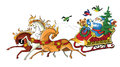 Santa claus a riding in his christmas sleigh illustration Stock Image