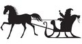 Santa claus riding on a horse sleigh silhouette of sitting in who pull Royalty Free Stock Photo
