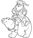 Santa claus riding on polar bear coloring page the back of a friendly Royalty Free Stock Photography
