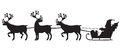 Santa claus riding a sleigh with reindeers silhouette image of riendeer Stock Images