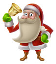 Santa claus ringing a bell christmas illustration of cartoon golden Royalty Free Stock Image