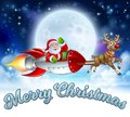 Santa Claus Rocket Sleigh Merry Christmas Graphic Royalty Free Stock Photo