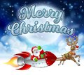 Merry Christmas Santa Claus Rocket Sleigh Royalty Free Stock Photo
