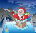 Santa claus on roof in mountain eps vector illustration Stock Photography