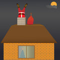 Santa claus on the roof a in night Stock Photography