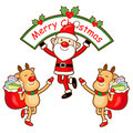 Santa Claus and Rudolph mascot the event activity Royalty Free Stock Photo