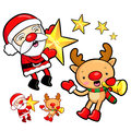Santa Claus and Rudolph mascot the event activity Stock Photo