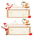 Santa Claus and Rudolph using a variety of banner Stock Photos