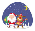 Santa claus and rudolph in winter forest Royalty Free Stock Images