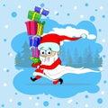 Santa Claus Run Carry Gift Box Merry Christmas
