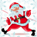 Santa Claus  runs and Winks Stock Photo