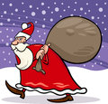 Santa claus with sack cartoon illustration Stock Images