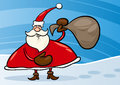 Santa claus with sack cartoon illustration Stock Photo