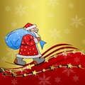 Santa claus with the sack of gifts on a brilliant background Royalty Free Stock Photos