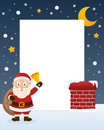 Santa claus with sack of gifts frame christmas vertical photo a happy cartoon character holding the and a jingle bell on a snowy Stock Image