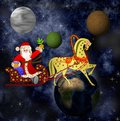 Santa claus with the sack of gifts in sledges in a team with a h horse on background star galaxy Royalty Free Stock Images