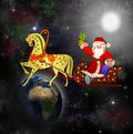 Santa claus with the sack of gifts in sledges in a team with a h horse on background star galaxy Stock Photos