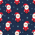 Santa Claus seamless Christmas pattern. Santa Claus, snow and stars on blue background. Royalty Free Stock Photo