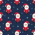 Santa Claus seamless Christmas pattern. Santa Claus, snow and stars on blue background. Royalty Free Stock Photo
