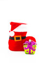Santa claus shoe and gift Royalty Free Stock Photo