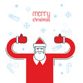 Santa Claus shows thumb up. Merry Christmas design flat line sty