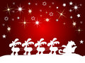Santa claus silhouette with stars Royalty Free Stock Photos