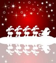 Santa claus silhouette with stars and reflection Stock Photos
