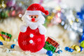 Santa claus and Silver colorful gift and blue green red gold ball decoration on chrismas Royalty Free Stock Photo