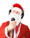 Santa Claus singing a song Stock Photo
