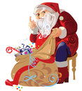 Santa claus sitting with a bag of gifts vector illustration Royalty Free Stock Photo