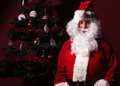 Santa claus is sitting near a christmas tree on red studio background Stock Images