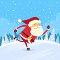 Santa claus skating winter snow forest väg Royaltyfri Foto