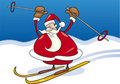 Santa claus on ski Royalty Free Stock Photo