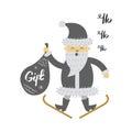 Santa Claus on Ski with Gift Bag Screaming Hohoho