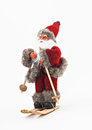 Santa Claus on skis tree a toy Royalty Free Stock Photo
