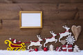 Santa Claus Sled, Reindeer, Snow, Christmas Decoration, Frame