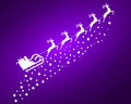 Santa Claus in sled rides in the reindeer on a purple backg Royalty Free Stock Photo
