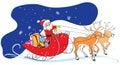 Santa Claus in sledge, Christmas gifts, deers