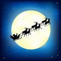 Santa Claus On Sledge With Deer. Vector Royalty Free Stock Photo